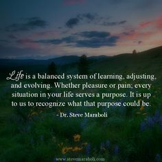 """""""Life is a balanced system of learning, adjusting, and evolving. Whether pleasure or pain; every situation in your life serves a purpose. It is up to us to recognize what that purpose could be."""" - Steve Maraboli"""