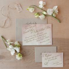 Love the delicate wash of color combined with script. Watercolor Vintage Wedding Invitation. $4.50, via Etsy.