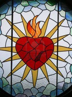 Sacred Heart of Jesus, Stained glass,Sacred Heart of Jesus Church, Rakov Potok, Croatia Stock Photo