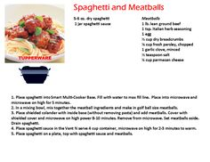 Tupperware Smart Multi Cooker Recipes Spaghetti and Meatballs