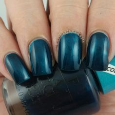 OPI Turquoise Aesthetic (over OPI Silver Canvas) swatched by Olivia Jade Nails