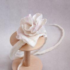 Felted newborn headband tieback white flower newborn by EsartFelt