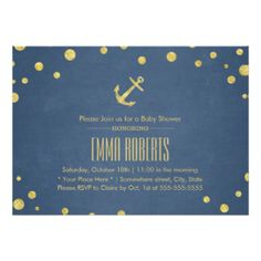 Navy Blue Gold Anchor Nautical Baby Shower 5x7 Paper Invitation Card
