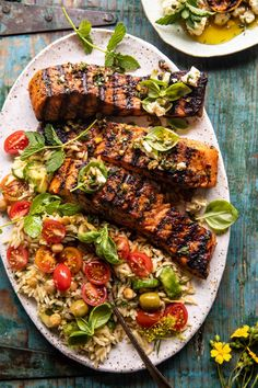 Greek Salmon with Lemon Feta and Orzo Summer Salad | halfbakedharvest.com Salmon Recipes, Fish Recipes, Seafood Recipes, Drink Recipes, Summer Recipes, Healthy Dinner Recipes, Cooking Recipes, Picnic Recipes, Dining