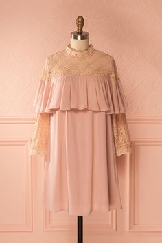 Zama Blush - This lovely shift dress is the height of romantic fashion with its lace and ruffle details. The high neck is Victorian era inspired, but the short length gives it a contemporary edge. Delicate and unique, it will prove a staple of your warm weather wardrobe. #lace #pastel