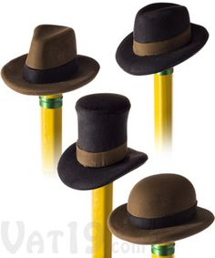 Adorn your pencils with fashionable, comfortable, and functional headgear with Pencil Eraser Hats. Each set includes fully functional erasers that are striking reproductions of four famous hat styles: The Top Hat, Fedora, Bowler, and Homburg. Pencil Eraser Hats will fit any standard size pencil.