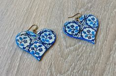 Portugal antique tile replica earrings Portuguese tile by XTory