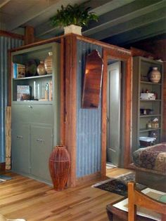 Cabin ideas. Maybe use this wall for outside the shower wall in bathrooms.