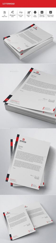 #Letterhead - Stationery Print #Templates Download here: https://graphicriver.net/item/letterhead/19539125?ref=alena994