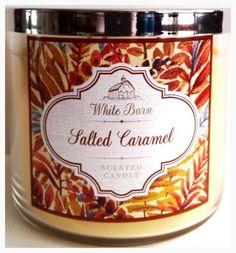 Bath-Body-Works-Salted-Caramel-3-Wick-Jar-Candle-14-5-oz-White-Barn