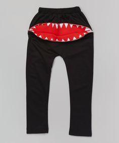 Black Zipper Teeth Harem Pants - Infant, Toddler & Kids