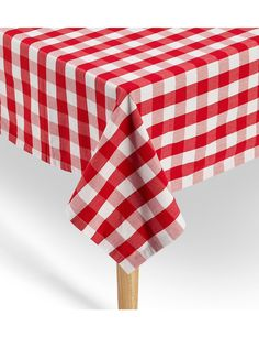 "Amazon.com: American Summertime Red Gingham Tablecloth Top Quality 100% Cotton Red / White Checkered Square Tablecloth 52 x 52"" Hemmed Extra Heavyweight 