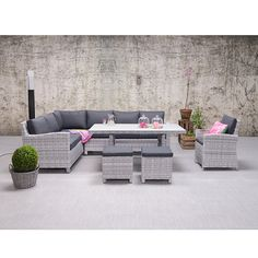 Norma lounge dining set links - Beste kwaliteit bij Tuinmeubelland Ottawa, Outdoor Furniture Sets, Outdoor Decor, Dining Set, Wicker, Backyard, Garden, Design, Home Decor