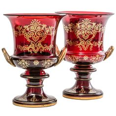Pair of Large English Victorian Gilt Glass Campana Shaped Urns, circa 1860 | From a unique collection of antique and modern glass at https://www.1stdibs.com/furniture/dining-entertaining/glass/
