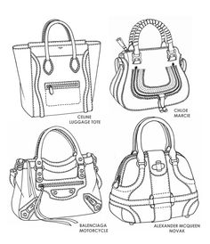 Famous handbag designs - sketches by Emily O'Rourke
