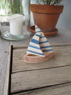 Ceramic Sailing Boat,Ceramic Sculpture,Sailboat,White,Blue,Rustic,Summer House Decor,Maritime Decor,Gift for Him,Beach House Decor,Rustic