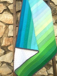 Handmade Ombre Baby Quilt  Modern Baby Quilt  by PetiteChalet