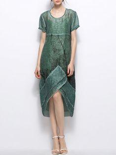Simple Asymmetric Short Sleeve Midi Dress - StyleWe.com