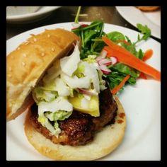 Homemade Pork & Shrimp Burger with Teriyaki Sauce, Fresh Pineapple, Wasabi Mayo Slaw and a Mixed Green Salad