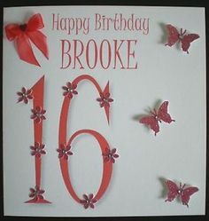 HANDMADE PERSONALISED BIRTHDAY CARD 10TH 12TH 13TH 16TH 18TH 21ST DAUGHTER