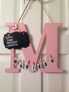 This door hanger is made to hang on the door to the birthing suite and announce your new bundle of joy. All letters are available and almost any name. If your letter is I, L, or J then name may need to be placed on the date, time board due to the shape of the letter. Available colors are: ballet slipper pink (shown in pic), white, grey, baby blue, dark blue, pistachio green, berry pink, red, yellow, and brown. Letters are aprox. 13 tall, width depends on letter. Please message me if you…