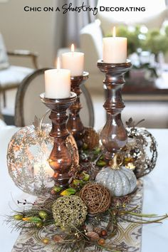 Decorating On a Shoe String | ... Thanksgiving Fall Centerpiece...by Chic on a Shoestring Decorating