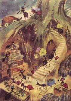Szancer for Jan Brzechwa's Za Krola Jelonka. Technical Illustration, Children's Book Illustration, Book Illustrations, Bug Art, Perspective Art, Little Critter, Graphic, Vintage Prints, Childrens Books