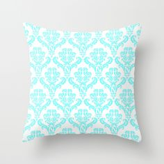 DAMASK AQUA BLUE Throw Pillow by MY PRETTY HOME by Monika Strigel | Society6