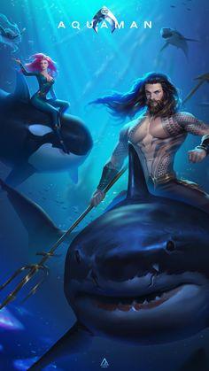 Aquaman fanart, Foritis Wong - Geek World Arte Dc Comics, Dc Comics Heroes, Nightwing, Batwoman, Aquaman Film, Aquaman 2018, Jason Momoa Aquaman, Comic Kunst, Comic Art