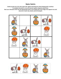 Printable Easter Sudoku Game See the category to find more printable coloring sheets. Also, you could use the search box to find what you want. Barbie Coloring Pages, Pokemon Coloring Pages, Alphabet Coloring Pages, Flower Coloring Pages, Coloring Pages For Kids, Easter Puzzles, Easter Craft Activities, Puzzles For Kids, Easter Art