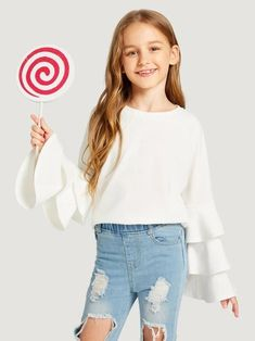 To find out about the Girls Layered Sleeve Tee at SHEIN, part of our latest Girls T-Shirts & Tanks ready to shop online today! Kids Outfits Girls, Cute Girl Outfits, Girls Fashion Clothes, Tween Fashion, Cute Outfits For Kids, Teen Fashion Outfits, Cute Casual Outfits, Shirts For Girls, Trendy Clothing