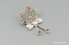Vintage Sterling Brooch Hello Kitty w Marcasites by JessesVintage, $12.49