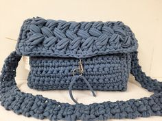 Crochet bag, crochet crossbody bag, Denim blue crochet bag, handmade bags, women fashion,t shirt yarn bag,all day bag, Crochet Handbags, Crochet Bags, Dark Blue Jeans, Blue Denim, Yarn Bag, Jeans Fabric, Crochet Cross, T Shirt Yarn, Handmade Bags