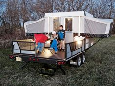 I love this pop-up camper! This is awesome engineering, and you get to bring your ATV or Cart and then converts into a raised porch...you could do a removable screened enclosure reasonably.: