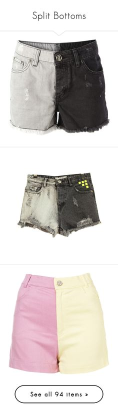 """""""Split Bottoms"""" by hello-alex106 ❤ liked on Polyvore featuring shorts, bottoms, destroyed denim shorts, denim short shorts, jean shorts, cotton shorts, ripped shorts, neon shorts, frayed shorts and neon denim shorts"""