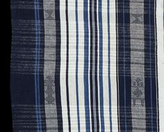 """NW517 - Woman's wrapper cloth from the Yoruba of Nigeria with a rare and undocumented pattern technique variation. On most Yoruba textiles, and indeed most West African textiles, pattern motifs are created using a technique called supplementary weft float in which an extra weft thread """"floats"""" over part of the ground weave. On this cloth however..... http://www.adireafricantextiles.com/nigeriacloth22.htm"""
