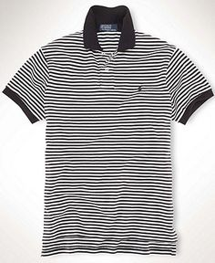 Polo Ralph Lauren Polo, Classic Fit Short-Sleeved Striped Mesh Shirt - Mens Polos - Macy's