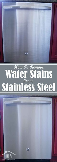 How To Clean Water Stains on Stainless Steel. If your a clean freak this is the best way to clean the water drips from your stainless steel dishwasher. water How To Clean Water Stains on Stainless Steel Deep Cleaning Tips, Household Cleaning Tips, Toilet Cleaning, House Cleaning Tips, Natural Cleaning Products, Spring Cleaning, Cleaning Hacks, Cleaning Supplies, Apartment Cleaning