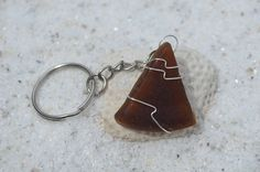 Genuine frosted amber brown sea glass keychain. Genuine hand wire wrapped…