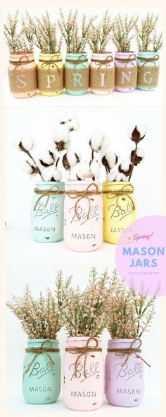 Spring Mason Jars, Spring Decor, Mason Jars, Easter Decor, Shabby Chic, Spring Centerpiece, Spring Mantle, Cottage Chic Decor, Easter. Love the soft colors. #Spring #masonjars #Easter #affiliate