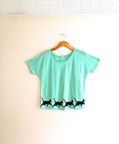 Mint light blue green cat tshirt funny cat by TheFelineBoutique