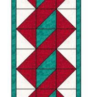 Texas Quilting - Quilting in the Lone Star StateTwisted Pole table runner patte. - Texas Quilting – Quilting in the Lone Star StateTwisted Pole table runner pattern Quilted Table Runners Christmas, Patchwork Table Runner, Table Runner And Placemats, Table Runner Pattern, Halloween Table Runners, Christmas Tables, Triangle Quilt Pattern, Half Square Triangle Quilts, Patchwork Quilt Patterns