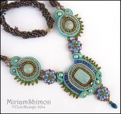 Turquoise and Gold Soutache necklace