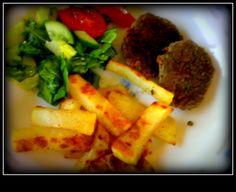 grilled beef patties, baked potatoes & veggie salad