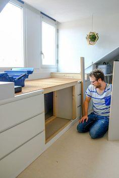 Ikea Hack Malm - A DIY bed bench from MALM cupboards - A good story - bedside bench dormer ikea diy - Bedroom Hacks, Ikea Bedroom, Attic Bedrooms, Ikea Hack Malm, Closet Ikea, New Swedish Design, Malm Bed, Kitchen Ikea, Best Ikea