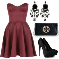 Black and maroon with Tory Burch clutch <3