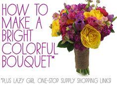 DIY Briadal flower bouquets : DIY wedding flowersDIY  Make A Bright Colorful Wedding Bouquet