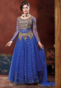Blue Net and Chantelle Net Readymade Abaya Style Churidar kameez: KFT34