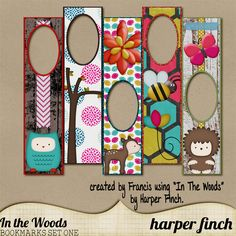 """10 bookmarks created using my """"In the Woods"""" kit. Not all shown."""