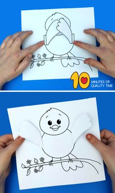 Peek-a-boo Bird Craft Easy Arts And Crafts, Crafts To Do, Crafts For Kids, Bird Nest Craft, Bird Crafts, 5 Little Monkeys, Birds For Kids, Spring Coloring Pages, Fun Activities For Kids